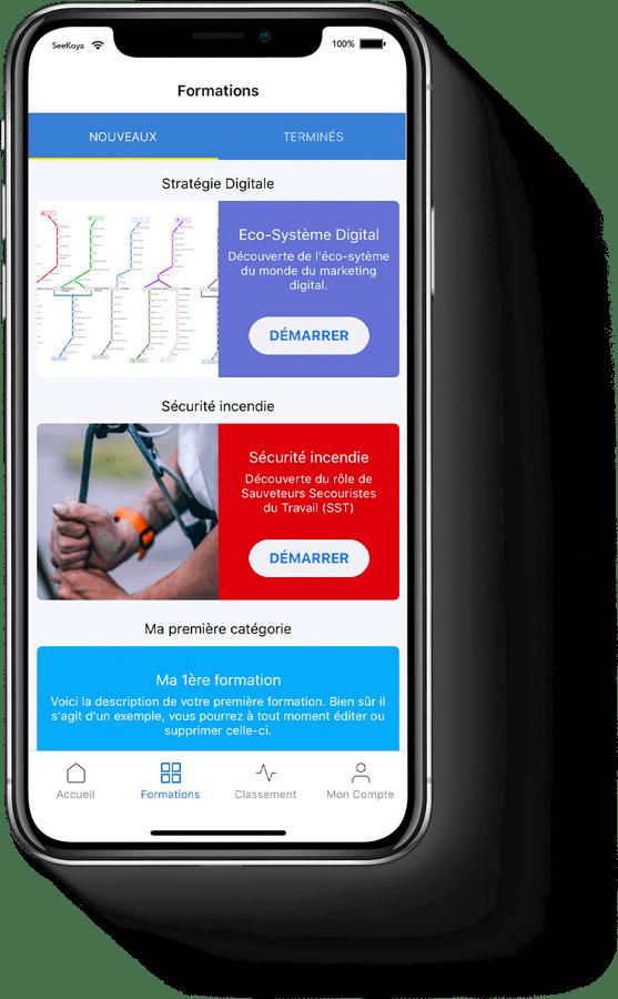 visuel d'application mobile de formation en micro learning